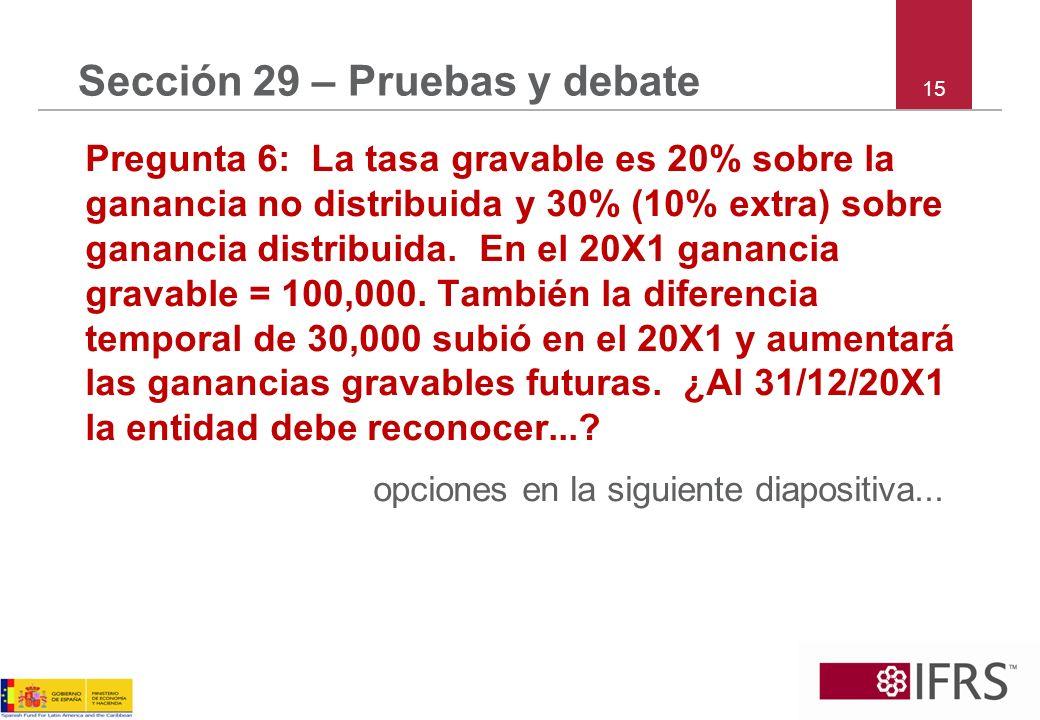 15 Sección 29 – Pruebas y debate Pregunta 6: La tasa gravable es 20% sobre la ganancia no distribuida y 30% (10% extra) sobre ganancia distribuida. En
