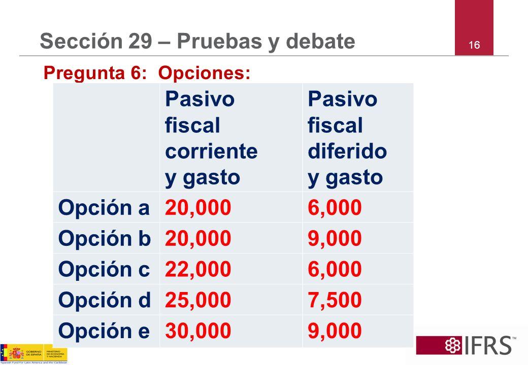 16 Sección 29 – Pruebas y debate Pregunta 6: Opciones: Pasivo fiscal corriente y gasto Pasivo fiscal diferido y gasto Opción a20,0006,000 Opción b20,0