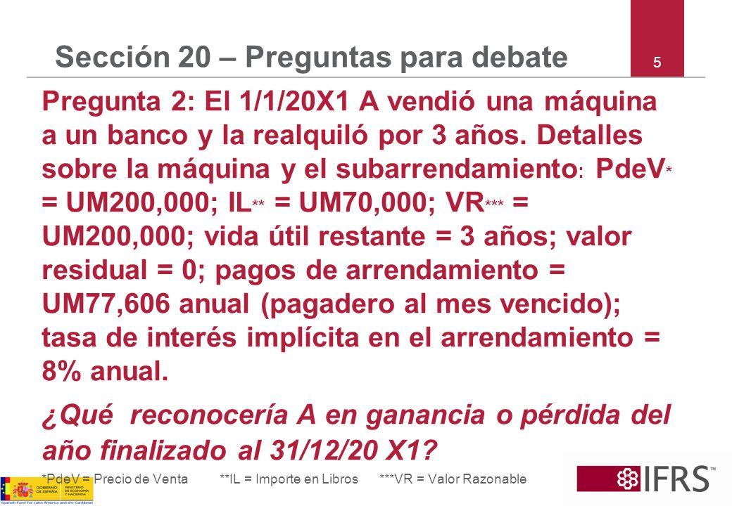 5 Sección 20 – Preguntas para debate Pregunta 2: El 1/1/20X1 A vendió una máquina a un banco y la realquiló por 3 años. Detalles sobre la máquina y el