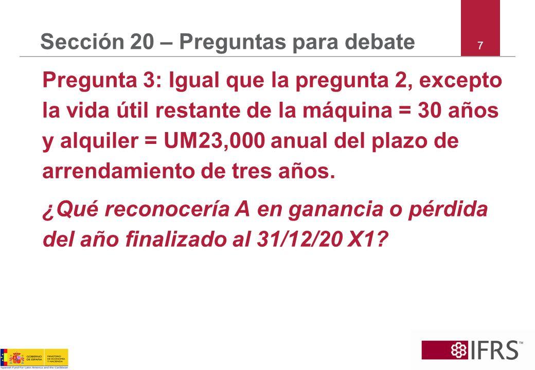 7 Sección 20 – Preguntas para debate Pregunta 3: Igual que la pregunta 2, excepto la vida útil restante de la máquina = 30 años y alquiler = UM23,000