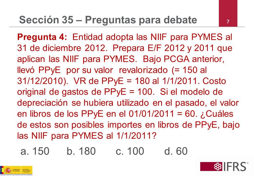 8 Sección 35 – Preguntas para debate Pregunta 5: La entidad adopta las NIIF para PYMES al 31–Dic–2012.