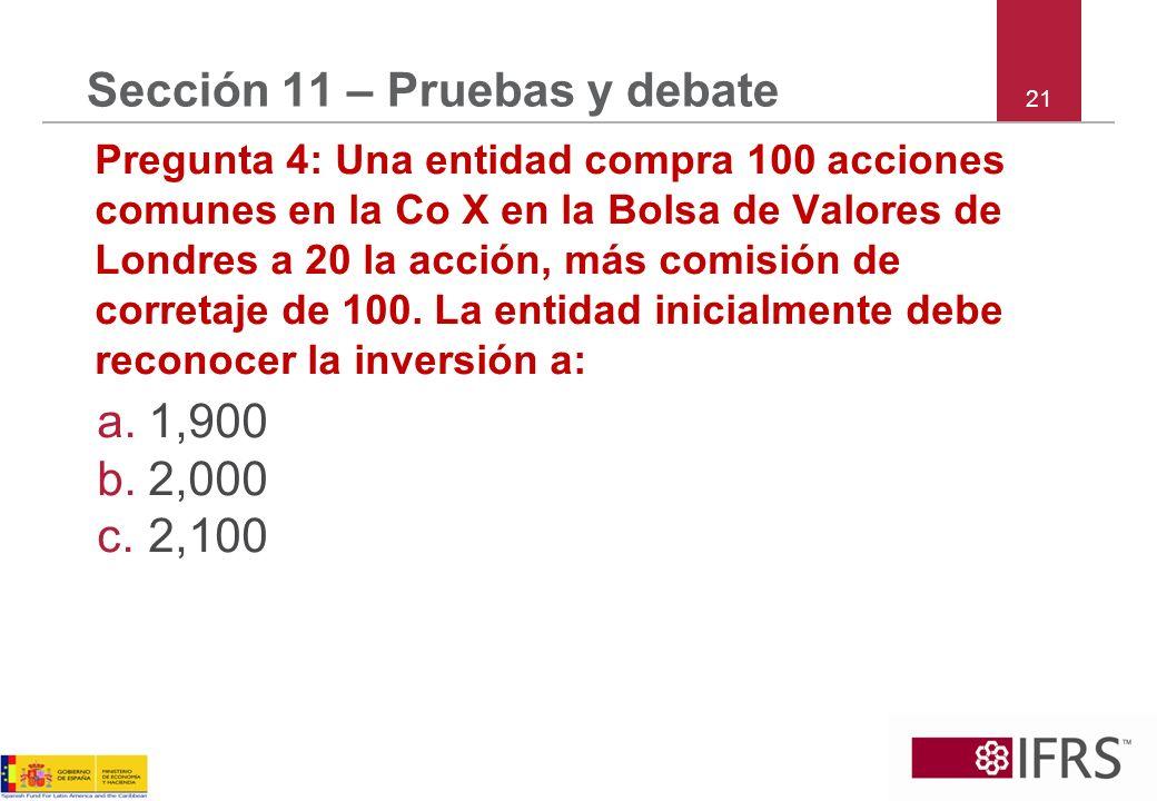 21 Sección 11 – Pruebas y debate Pregunta 4: Una entidad compra 100 acciones comunes en la Co X en la Bolsa de Valores de Londres a 20 la acción, más