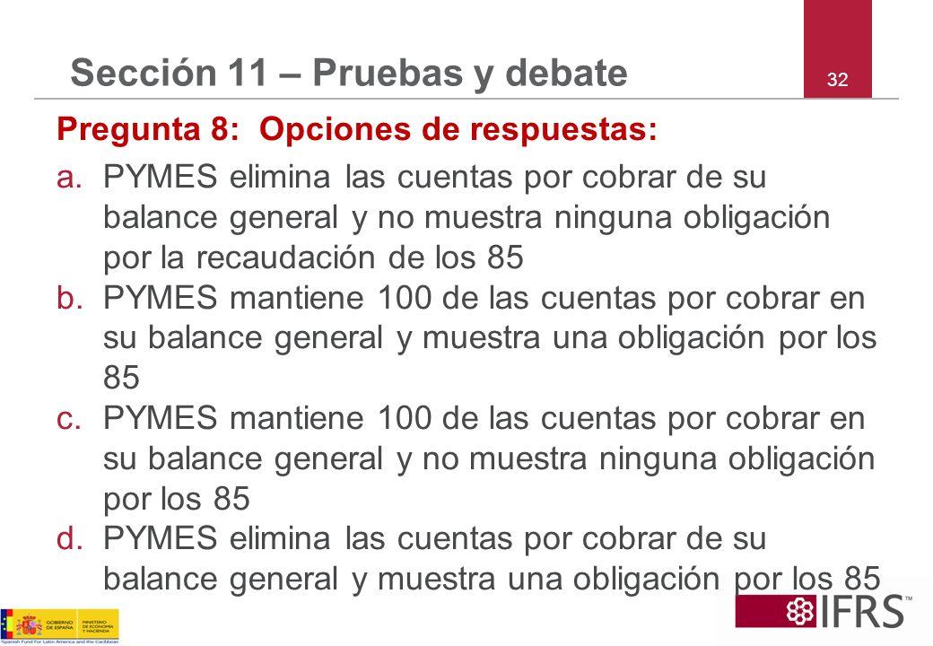 32 Sección 11 – Pruebas y debate Pregunta 8: Opciones de respuestas: a.PYMES elimina las cuentas por cobrar de su balance general y no muestra ninguna