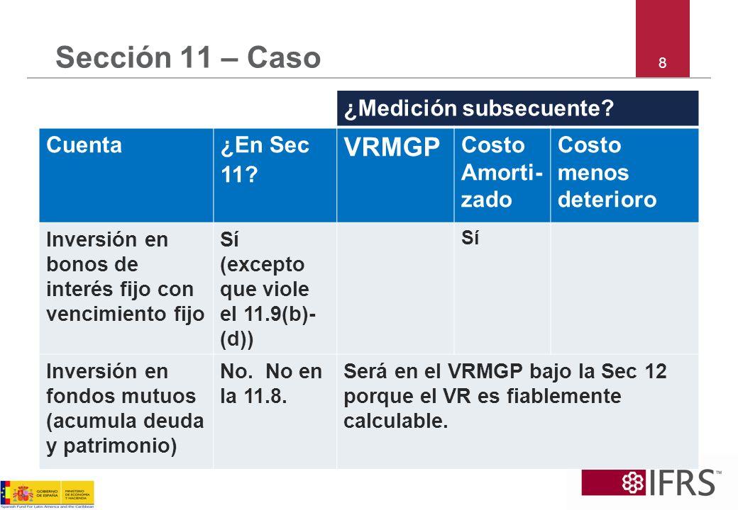 8 Sección 11 – Caso ¿Medición subsecuente? Cuenta¿En Sec 11? VRMGP Costo Amorti- zado Costo menos deterioro Inversión en bonos de interés fijo con ven