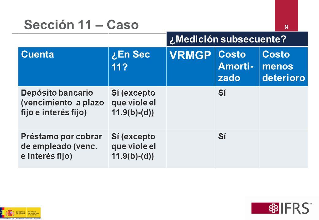 10 Sección 11 – Caso ¿Medición subsecuente.Cuenta¿En Sec 11.