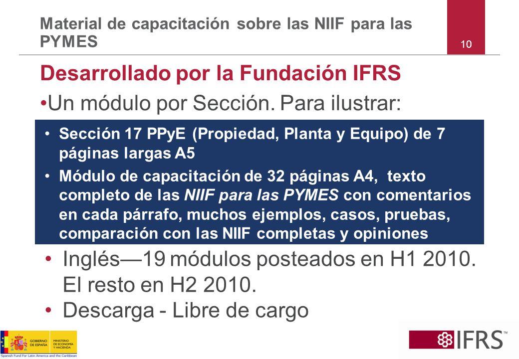 10 Material de capacitación sobre las NIIF para las PYMES Desarrollado por la Fundación IFRS Un módulo por Sección. Para ilustrar: Inglés19 módulos po