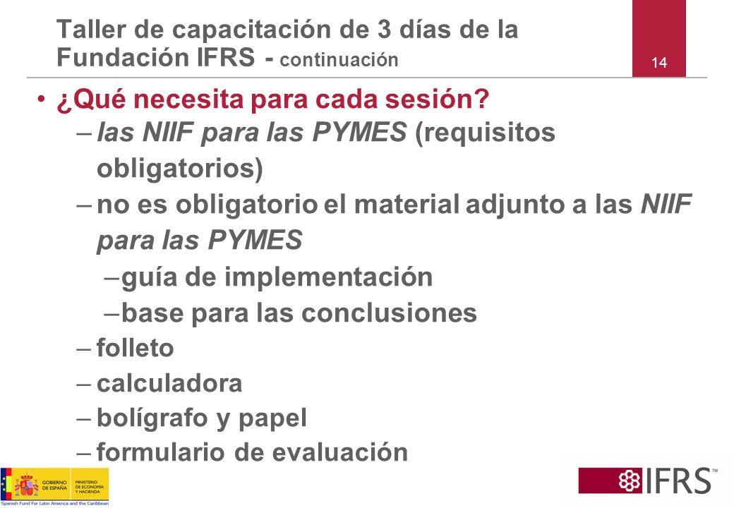 ¿Qué necesita para cada sesión? –las NIIF para las PYMES (requisitos obligatorios) –no es obligatorio el material adjunto a las NIIF para las PYMES –g