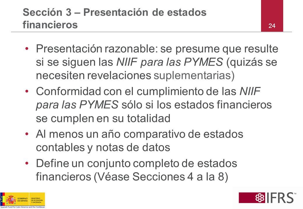 24 Sección 3 – Presentación de estados financieros Presentación razonable: se presume que resulte si se siguen las NIIF para las PYMES (quizás se nece