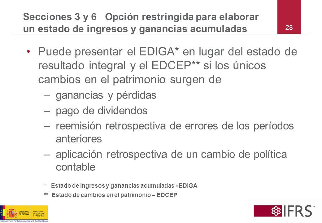 28 Secciones 3 y 6 Opción restringida para elaborar un estado de ingresos y ganancias acumuladas Puede presentar el EDIGA* en lugar del estado de resu