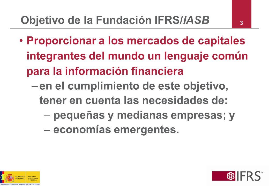 Objetivo de la Fundación IFRS/IASB Proporcionar a los mercados de capitales integrantes del mundo un lenguaje común para la información financiera –en
