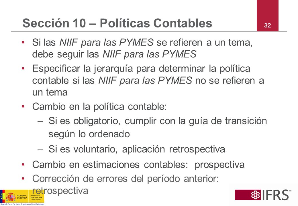 32 Sección 10 – Políticas Contables Si las NIIF para las PYMES se refieren a un tema, debe seguir las NIIF para las PYMES Especificar la jerarquía par