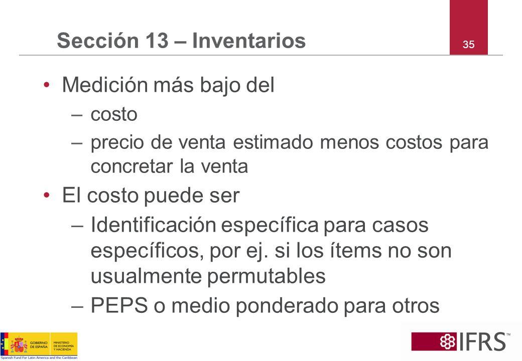 35 Sección 13 – Inventarios Medición más bajo del –costo –precio de venta estimado menos costos para concretar la venta El costo puede ser –Identifica