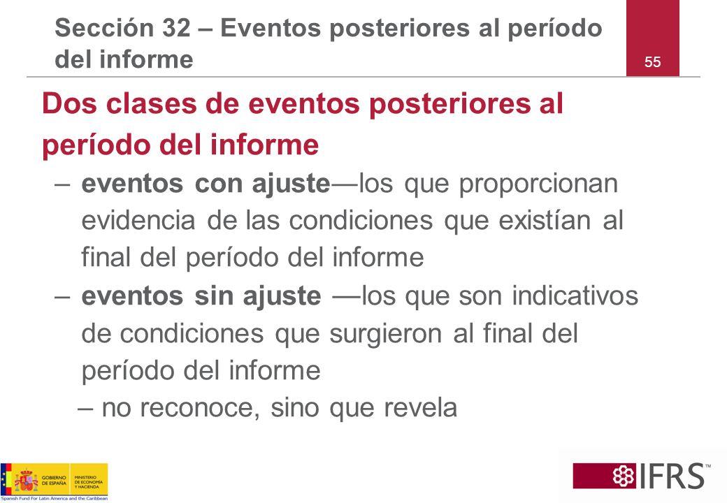 55 Sección 32 – Eventos posteriores al período del informe Dos clases de eventos posteriores al período del informe –eventos con ajustelos que proporc