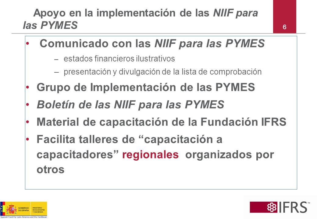 6 Apoyo en la implementación de las NIIF para las PYMES Comunicado con las NIIF para las PYMES – estados financieros ilustrativos – presentación y div