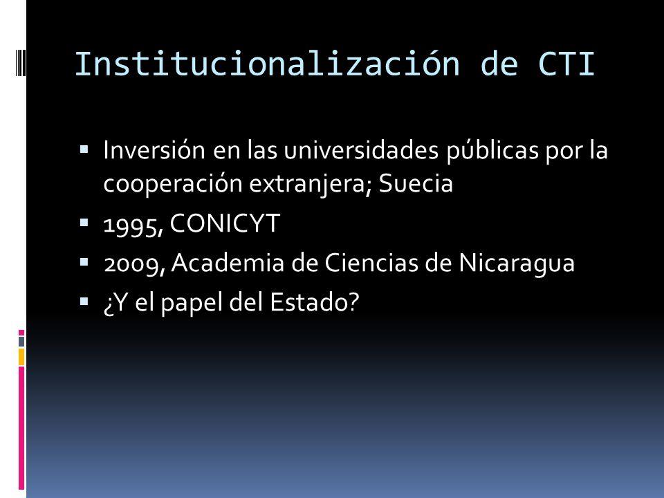 Institucionalización de CTI Inversión en las universidades públicas por la cooperación extranjera; Suecia 1995, CONICYT 2009, Academia de Ciencias de Nicaragua ¿Y el papel del Estado