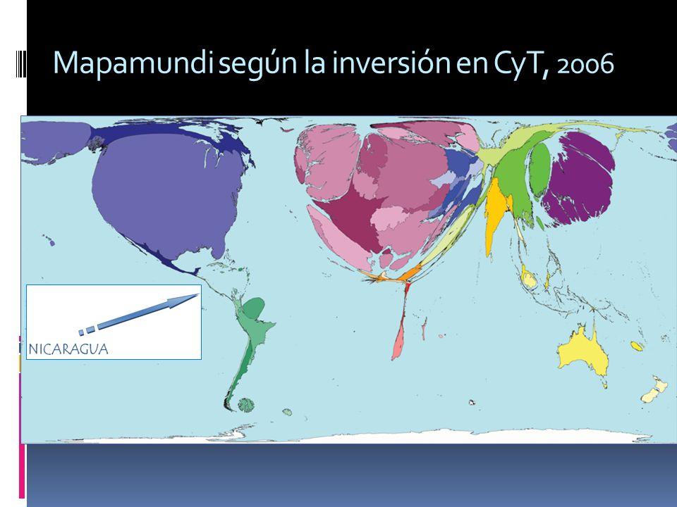 Mapamundi según la inversión en CyT, 2006