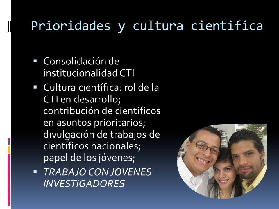 Prioridades y cultura cientifica Consolidación de institucionalidad CTI Cultura científica: rol de la CTI en desarrollo; contribución de científicos en asuntos prioritarios; divulgación de trabajos de científicos nacionales; papel de los jóvenes; TRABAJO CON JÓVENES INVESTIGADORES