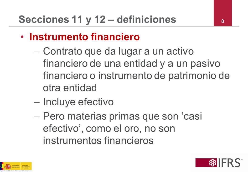 9 Secciones 11 y 12 –definiciones Instrumento financiero básico * –Efectivo –Instrumento de deuda (cuentas, notas y préstamos por cobrar y por pagar) que reúne las condiciones en la próxima diapositiva –Acciones ordinarias y preferentes no convertibles y sin opción de venta *Estas notas no tratan sobre compromisos de préstamo