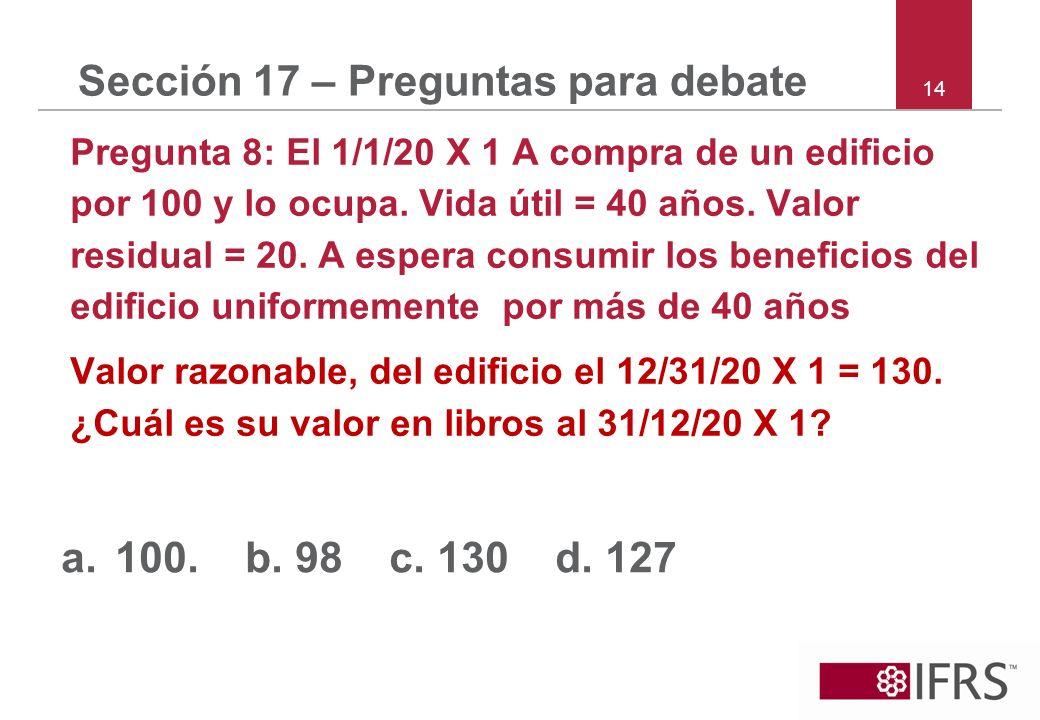 14 Sección 17 – Preguntas para debate Pregunta 8: El 1/1/20 X 1 A compra de un edificio por 100 y lo ocupa. Vida útil = 40 años. Valor residual = 20.