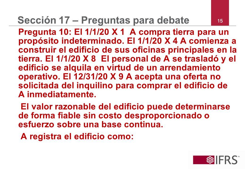 15 Sección 17 – Preguntas para debate Pregunta 10: El 1/1/20 X 1 A compra tierra para un propósito indeterminado. El 1/1/20 X 4 A comienza a construir