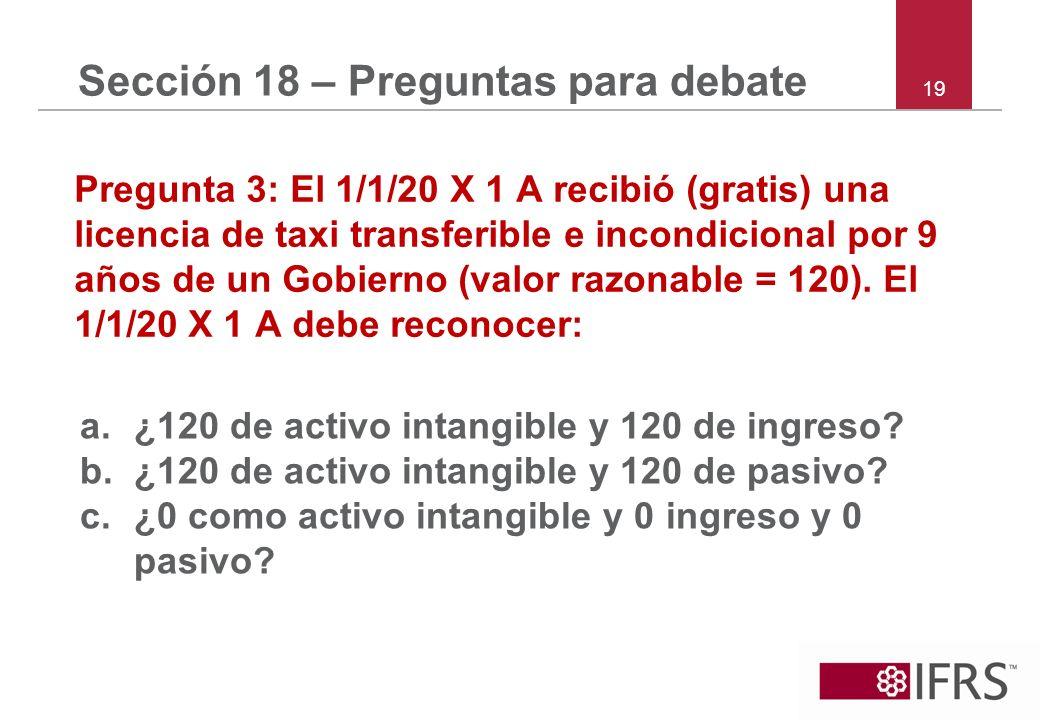 19 Sección 18 – Preguntas para debate Pregunta 3: El 1/1/20 X 1 A recibió (gratis) una licencia de taxi transferible e incondicional por 9 años de un