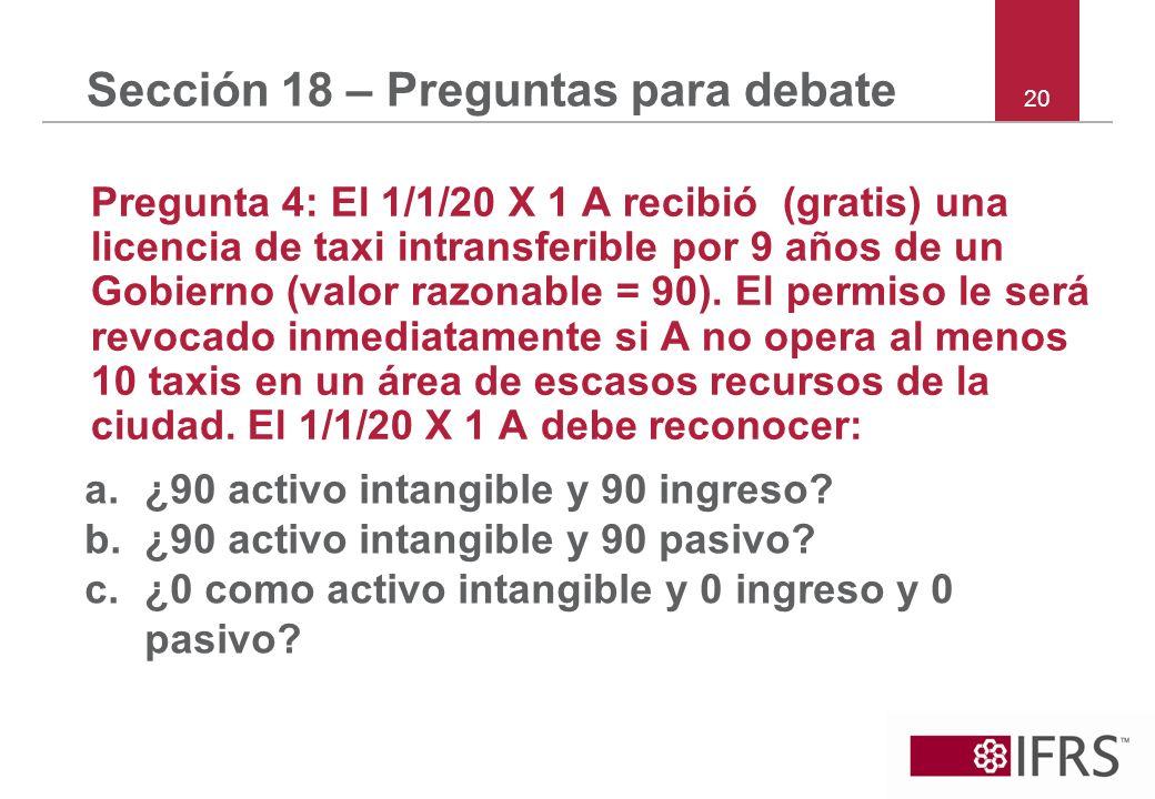 20 Sección 18 – Preguntas para debate Pregunta 4: El 1/1/20 X 1 A recibió (gratis) una licencia de taxi intransferible por 9 años de un Gobierno (valo