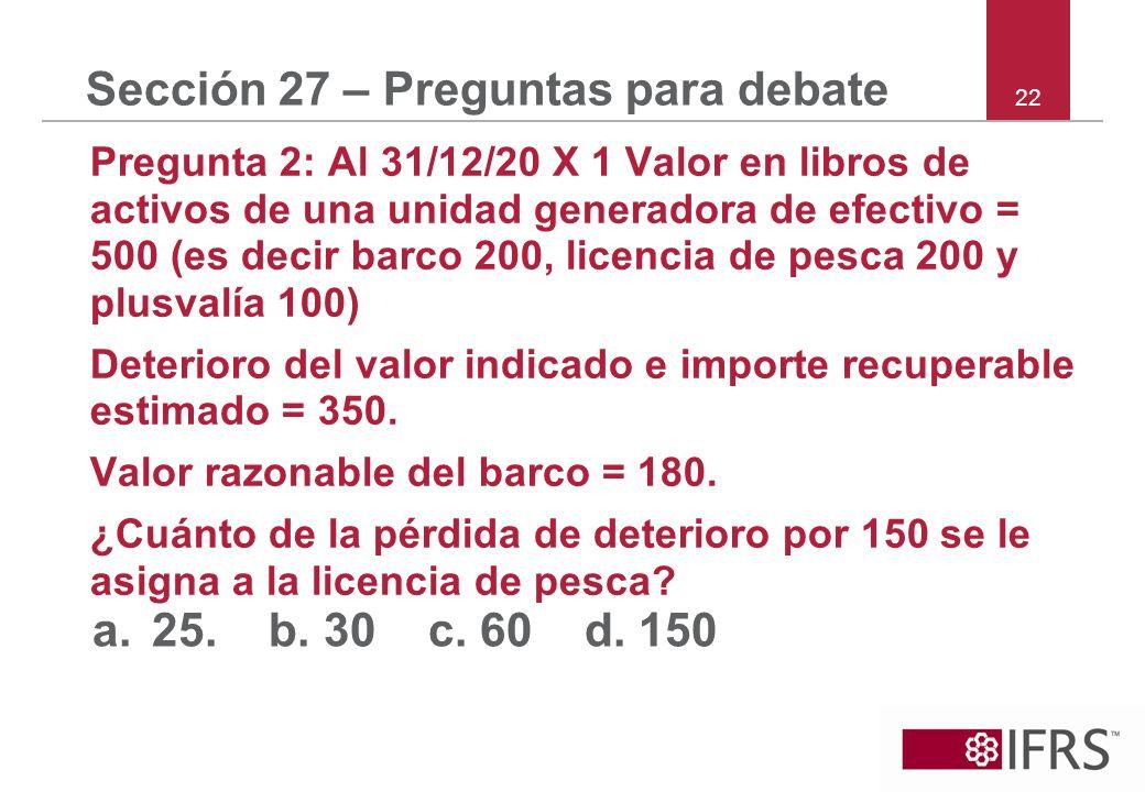 22 Sección 27 – Preguntas para debate Pregunta 2: Al 31/12/20 X 1 Valor en libros de activos de una unidad generadora de efectivo = 500 (es decir barc