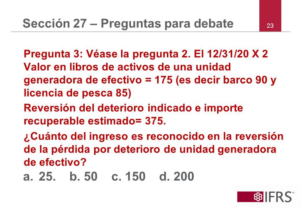 23 Sección 27 – Preguntas para debate Pregunta 3: Véase la pregunta 2. El 12/31/20 X 2 Valor en libros de activos de una unidad generadora de efectivo