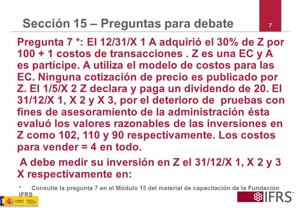 7 Sección 15 – Preguntas para debate Pregunta 7 *: El 12/31/X 1 A adquirió el 30% de Z por 100 + 1 costos de transacciones. Z es una EC y A es partíci