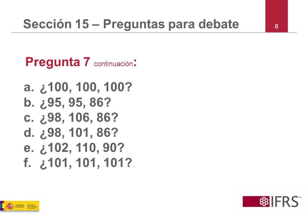 8 Sección 15 – Preguntas para debate Pregunta 7 continuación : a.¿100, 100, 100? b.¿95, 95, 86? c.¿98, 106, 86? d.¿98, 101, 86? e.¿102, 110, 90? f.¿10