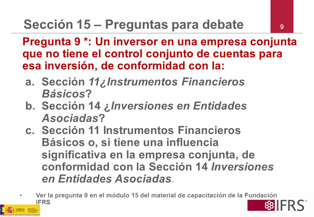 9 Sección 15 – Preguntas para debate Pregunta 9 *: Un inversor en una empresa conjunta que no tiene el control conjunto de cuentas para esa inversión,