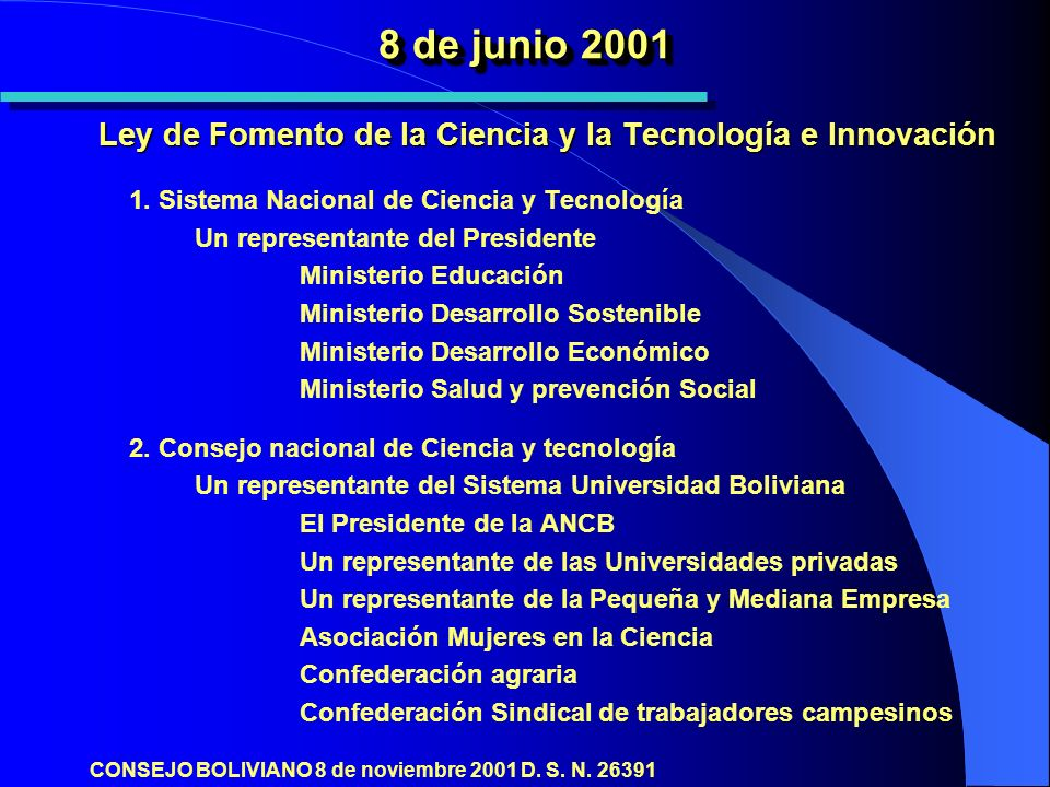 8 de junio 2001 Ley de Fomento de la Ciencia y la Tecnología e Innovación 1.