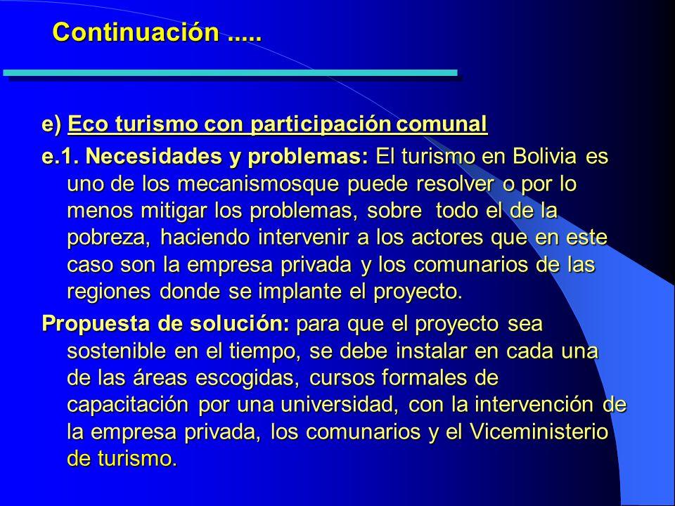 Continuación..... e) Eco turismo con participación comunal e.1.