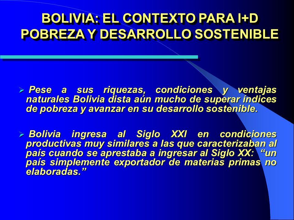 BOLIVIA: EL CONTEXTO PARA I+D POBREZA Y DESARROLLO SOSTENIBLE Pese a sus riquezas, condiciones y ventajas naturales Bolivia dista aún mucho de superar índices de pobreza y avanzar en su desarrollo sostenible.