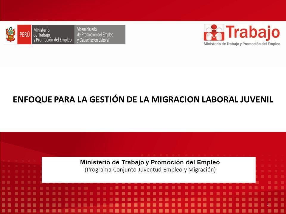 ENFOQUE PARA LA GESTIÓN DE LA MIGRACION LABORAL JUVENIL Ministerio de Trabajo y Promoción del Empleo ( Programa Conjunto Juventud Empleo y Migración) 1