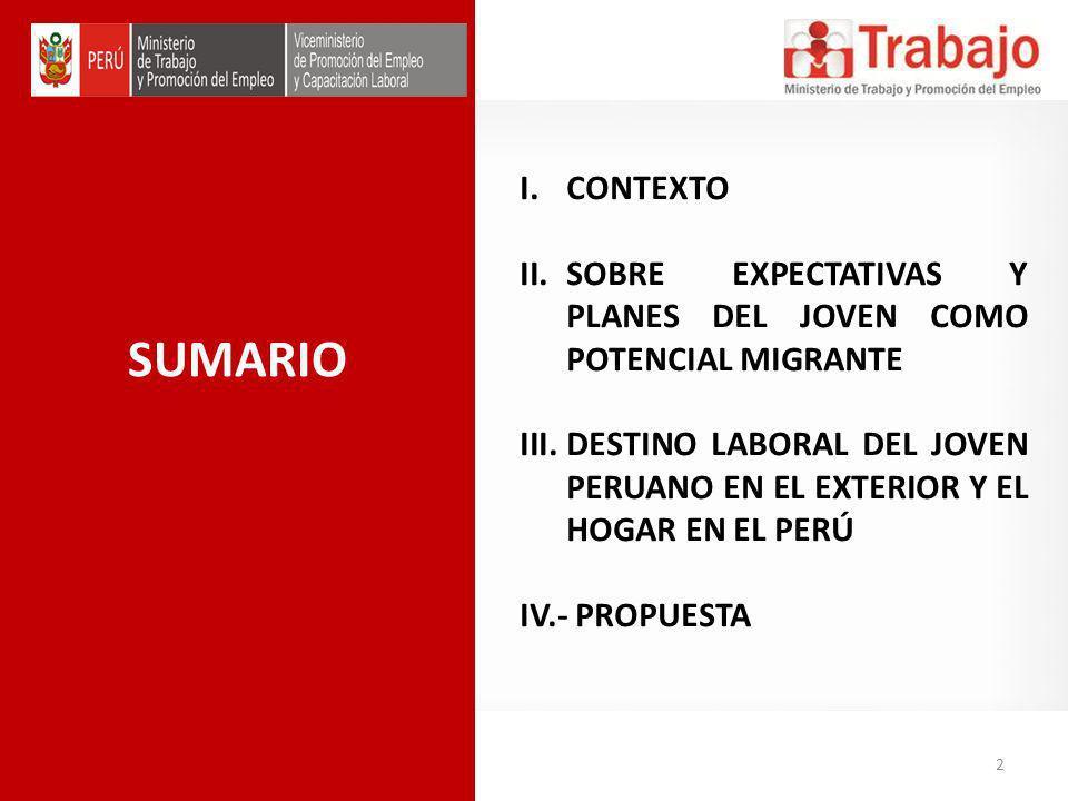 SUMARIO I.CONTEXTO II.SOBRE EXPECTATIVAS Y PLANES DEL JOVEN COMO POTENCIAL MIGRANTE III.DESTINO LABORAL DEL JOVEN PERUANO EN EL EXTERIOR Y EL HOGAR EN EL PERÚ IV.- PROPUESTA 2