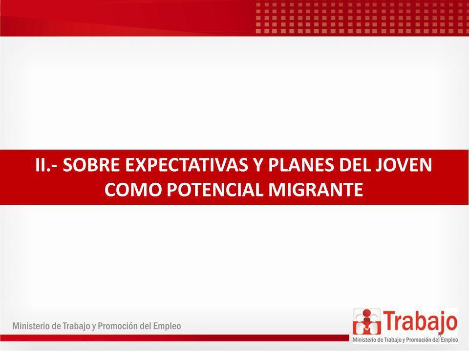 II.- SOBRE EXPECTATIVAS Y PLANES DEL JOVEN COMO POTENCIAL MIGRANTE 8