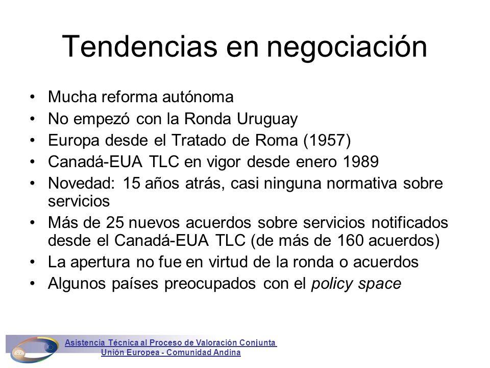 Latinoamérica: Chile Acuerdo de Asociación entre Chile y la Unión Europea –Firmado en noviembre 2002 –En vigor provisionalmente desde 1 febrero 2003 –Dialogo político y cooperación –Inversión en servicios – todo bajo comercio de servicios –Revisión cada tres años, recomendaciones al Consejo del Acuerdo de Asociación Asistencia Técnica al Proceso de Valoración Conjunta Unión Europea - Comunidad Andina