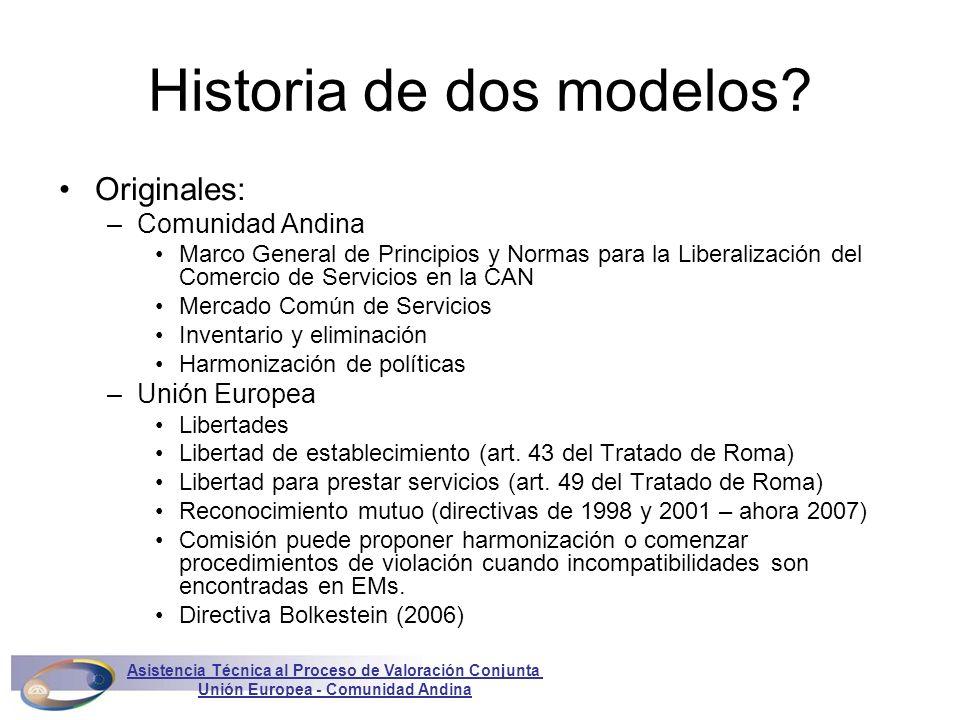 Historia de dos modelos? Originales: –Comunidad Andina Marco General de Principios y Normas para la Liberalización del Comercio de Servicios en la CAN