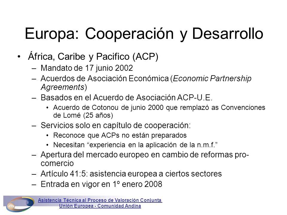 Europa: Cooperación y Desarrollo África, Caribe y Pacifico (ACP) –Mandato de 17 junio 2002 –Acuerdos de Asociación Económica (Economic Partnership Agreements) –Basados en el Acuerdo de Asociación ACP-U.E.