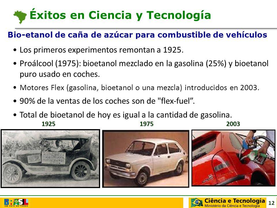 12 Los primeros experimentos remontan a 1925. Proálcool (1975): bioetanol mezclado en la gasolina (25%) y bioetanol puro usado en coches. Motores Flex