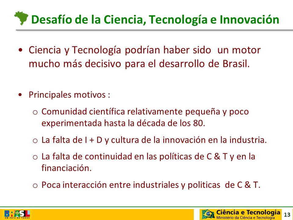 13 Ciencia y Tecnología podrían haber sido un motor mucho más decisivo para el desarrollo de Brasil. Principales motivos : o Comunidad científica rela