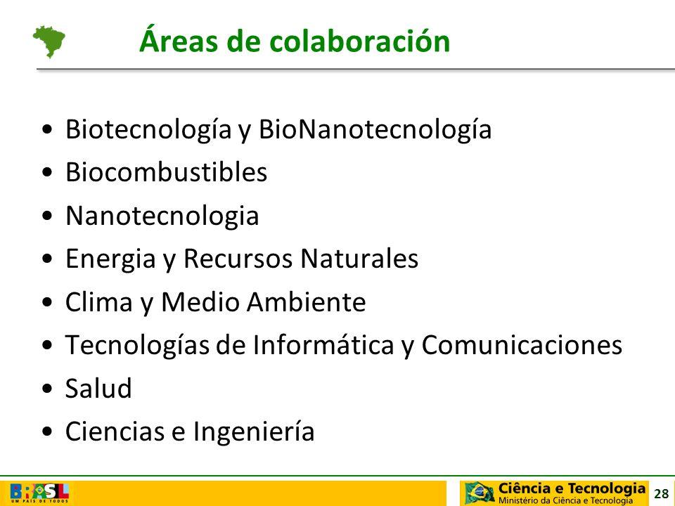 28 Áreas de colaboración Biotecnología y BioNanotecnología Biocombustibles Nanotecnologia Energia y Recursos Naturales Clima y Medio Ambiente Tecnolog