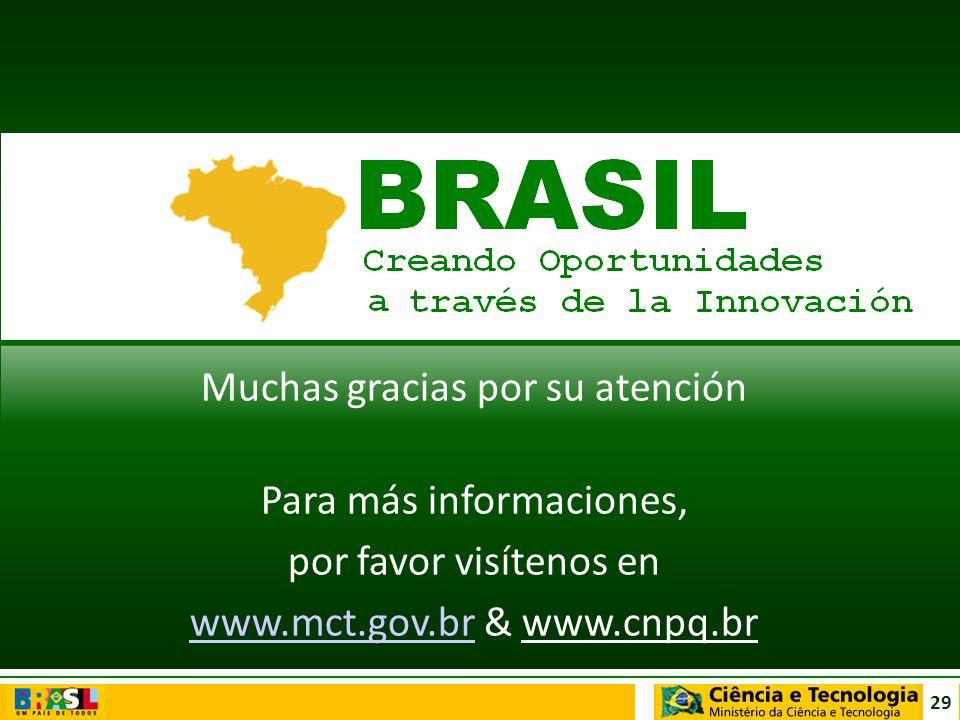 29 Muchas gracias por su atención Para más informaciones, por favor visítenos en www.mct.gov.brwww.mct.gov.br & www.cnpq.br