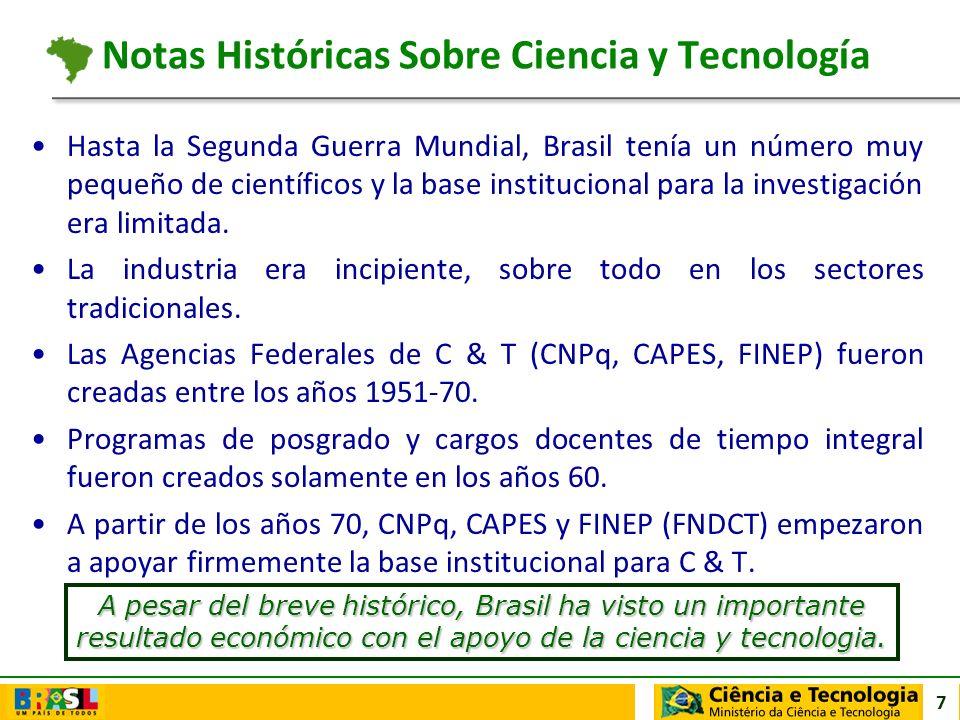 7 Hasta la Segunda Guerra Mundial, Brasil tenía un número muy pequeño de científicos y la base institucional para la investigación era limitada. La in