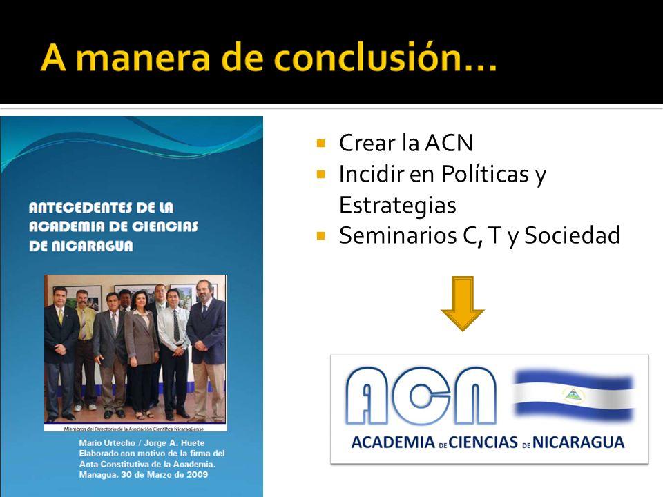 Crear la ACN Incidir en Políticas y Estrategias Seminarios C, T y Sociedad