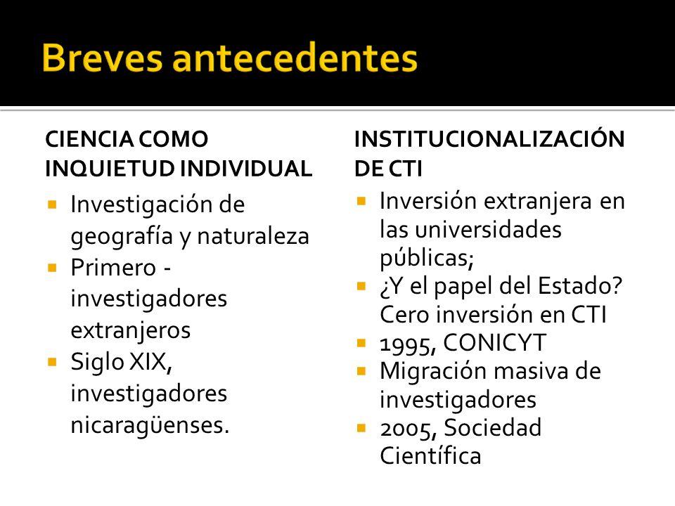 CIENCIA COMO INQUIETUD INDIVIDUAL Investigación de geografía y naturaleza Primero - investigadores extranjeros Siglo XIX, investigadores nicaragüenses.