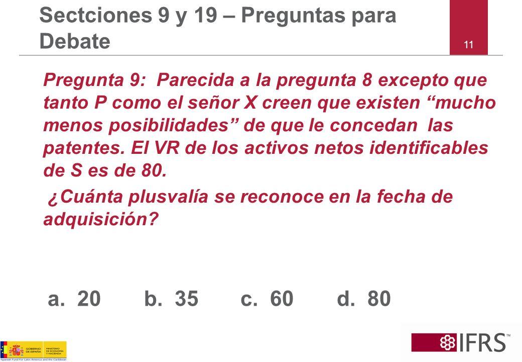 11 Sectciones 9 y 19 – Preguntas para Debate Pregunta 9: Parecida a la pregunta 8 excepto que tanto P como el señor X creen que existen mucho menos posibilidades de que le concedan las patentes.