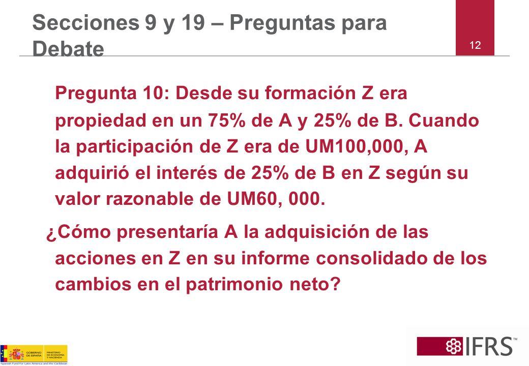 Pregunta 10: Desde su formación Z era propiedad en un 75% de A y 25% de B.