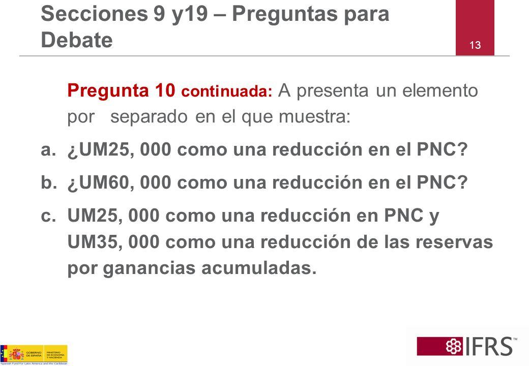 Pregunta 10 continuada: A presenta un elemento por separado en el que muestra: a.¿UM25, 000 como una reducción en el PNC.